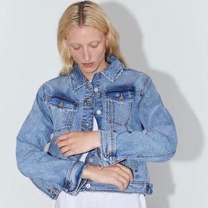Zara | Light Blue Distressed Denim Jacket